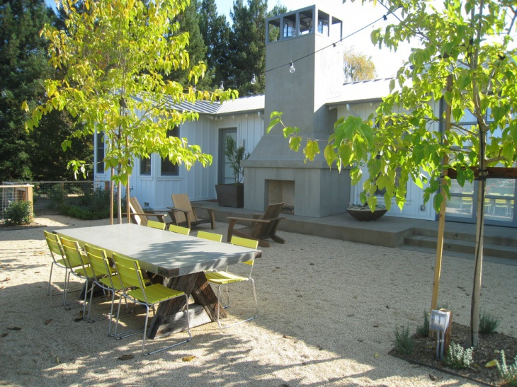 outdoor dining area with greenary