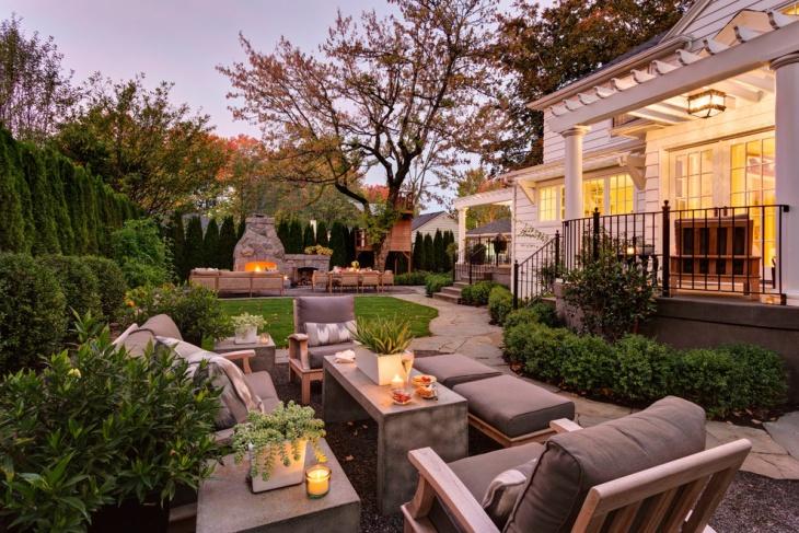 elegant landscape with teak furniture