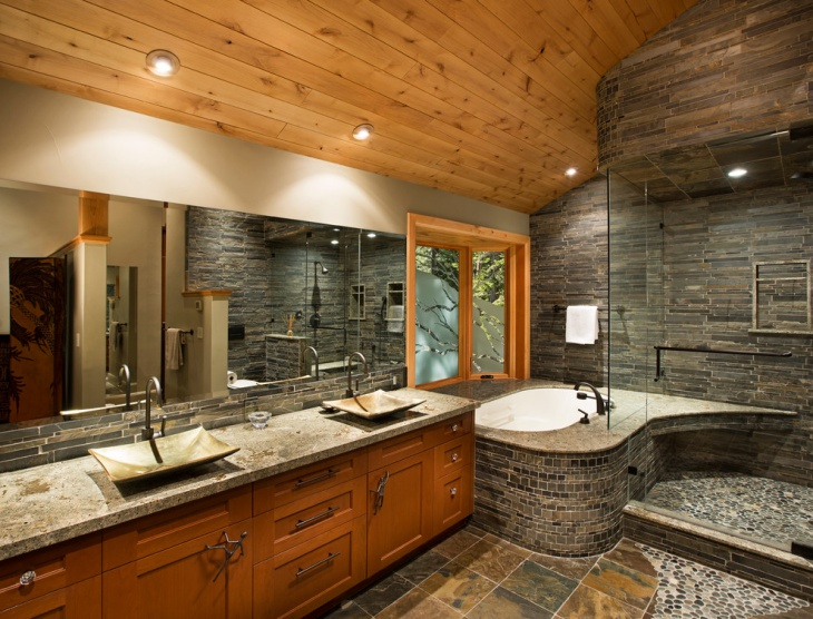 lavish bathroom with wooden ceiling