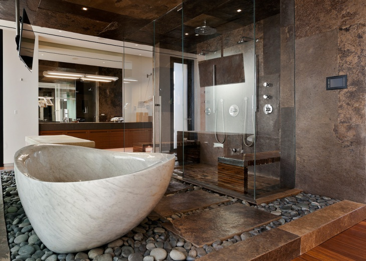 Trendy Glass Enclosed Shower Bathroom