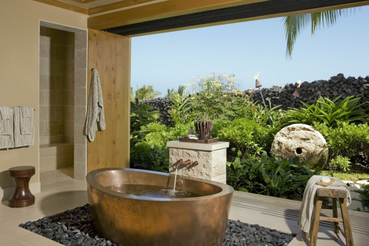 Tropical Bathroom with Copper Soaking Tub