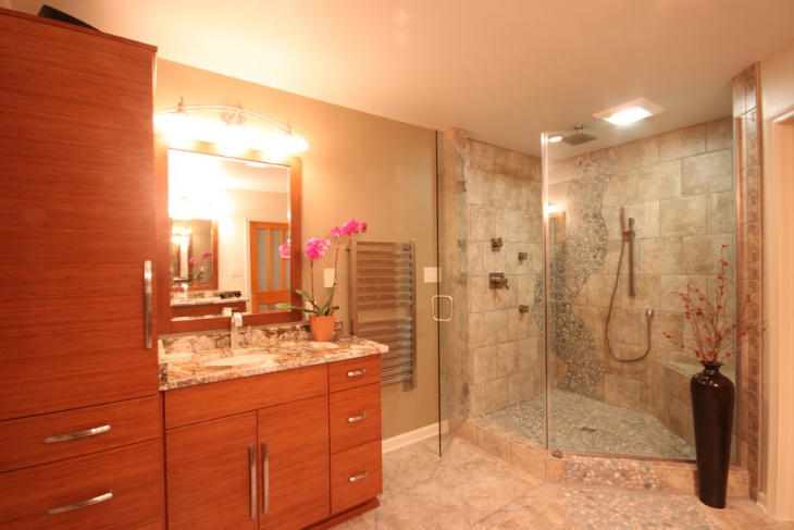 eclectic river rock bathroom with shower