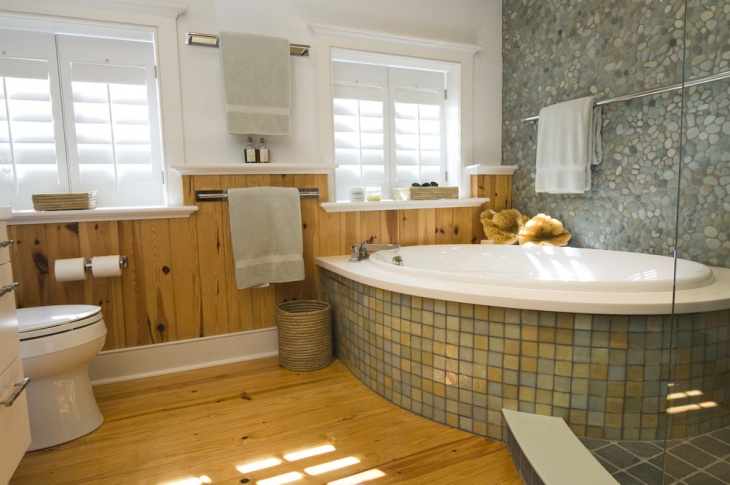 Small Master Bathroom with Wood Floor