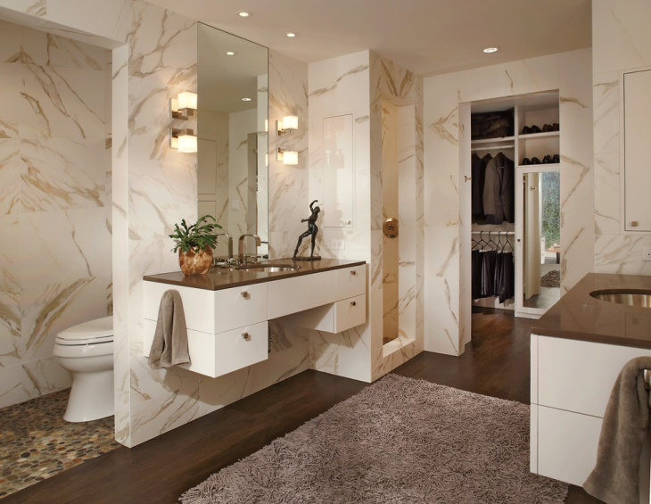 Vintage Bathroom with White Marble Wall