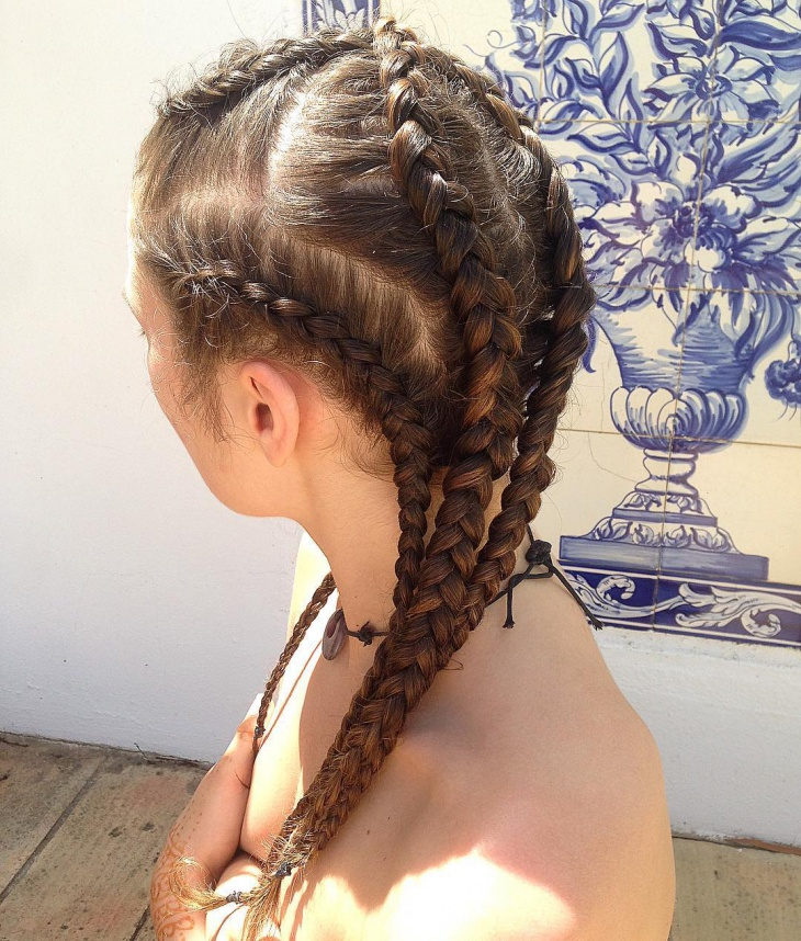 funky french plait hairstyle