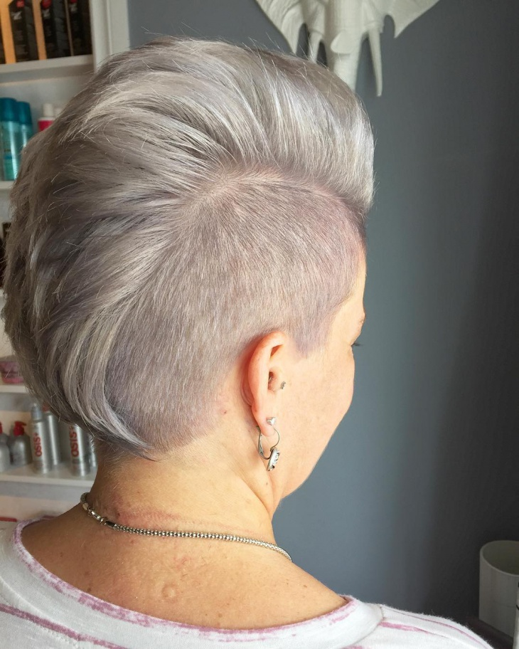 silver mohawk grey haircut