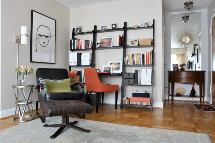 Transitional Home office with Orange Chair