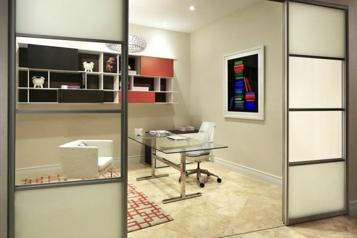 Simple Home Office with Sliding Doors