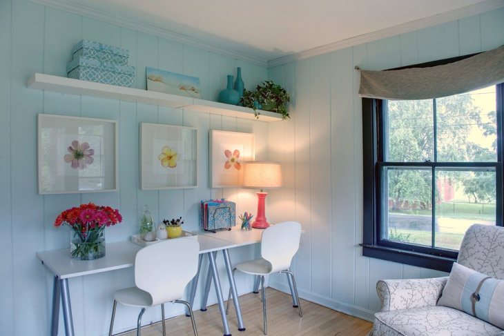 Transitional Home office with Blue Wall