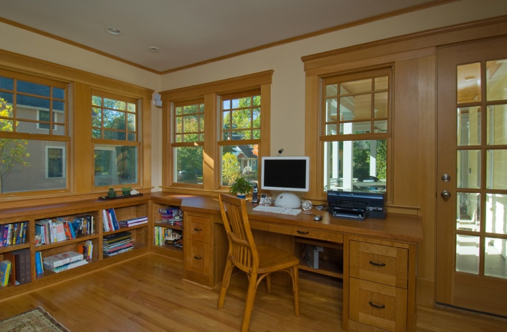 Wooden Furnished Home Office