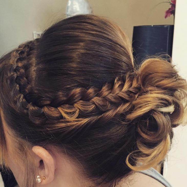 double twisted side braid bun