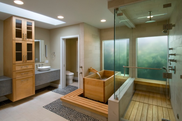 awesome bathroom with wooden bath tub
