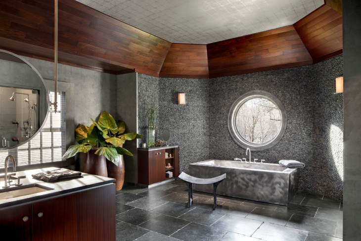 Gray Bathroom Design with Granite Roof