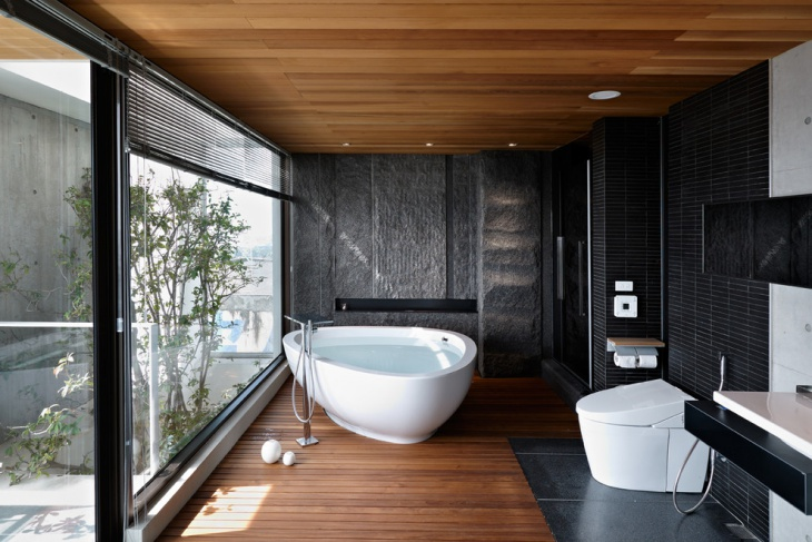 Black Walls Zen Bathroom Idea
