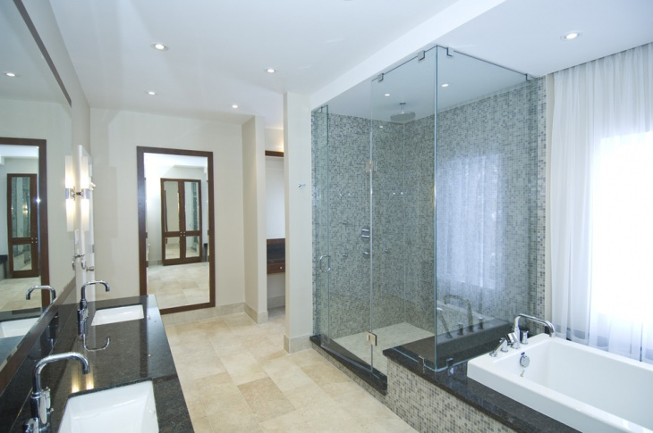 lavish bathroom with glass shower
