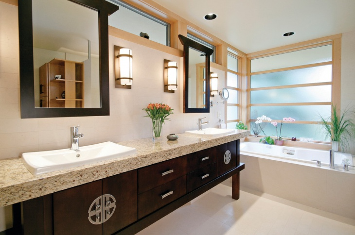 Elegant Bathroom with Brown Wood Cabinets