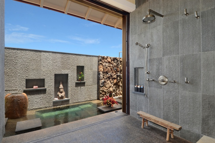 asian bathroom with gray patterned wall