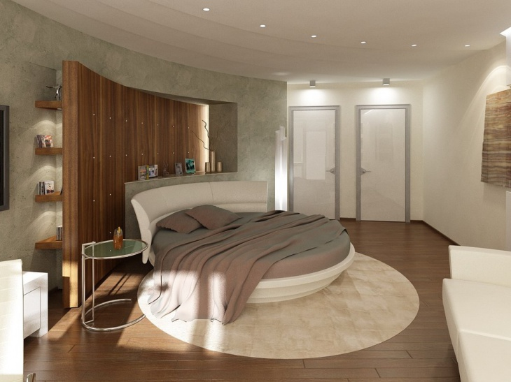 White Rounded Bed in Kids Room