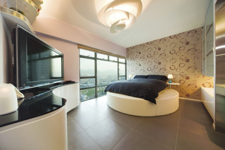 Modern Bedroom with Round Bed