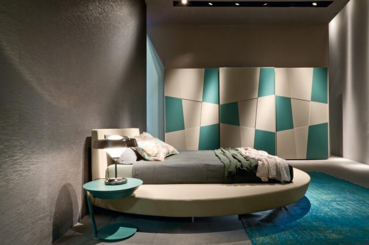 lavish bedroom with blue bedside table