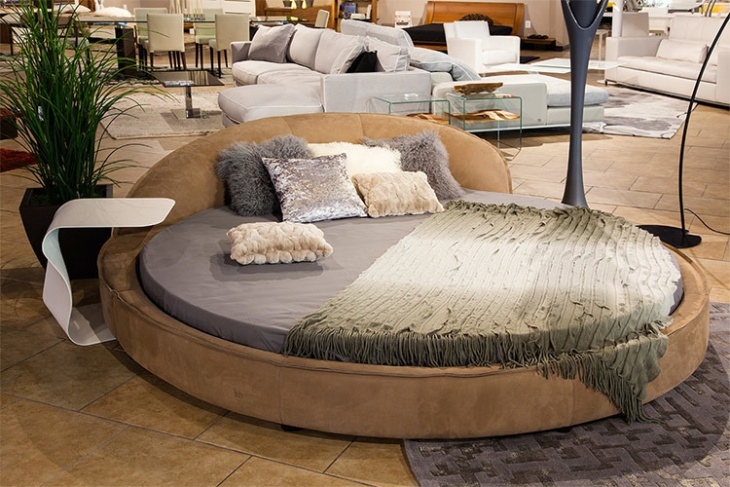 eclectic round leather bed