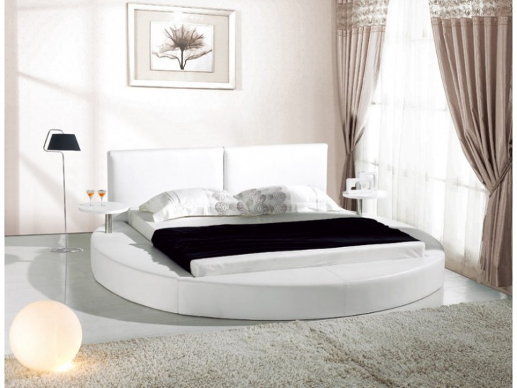 White Leather Platform Bed Idea