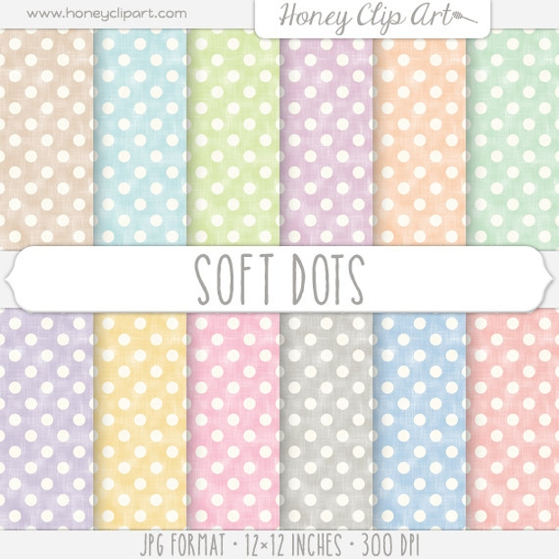 polka dot digital paper with linen textured pastel