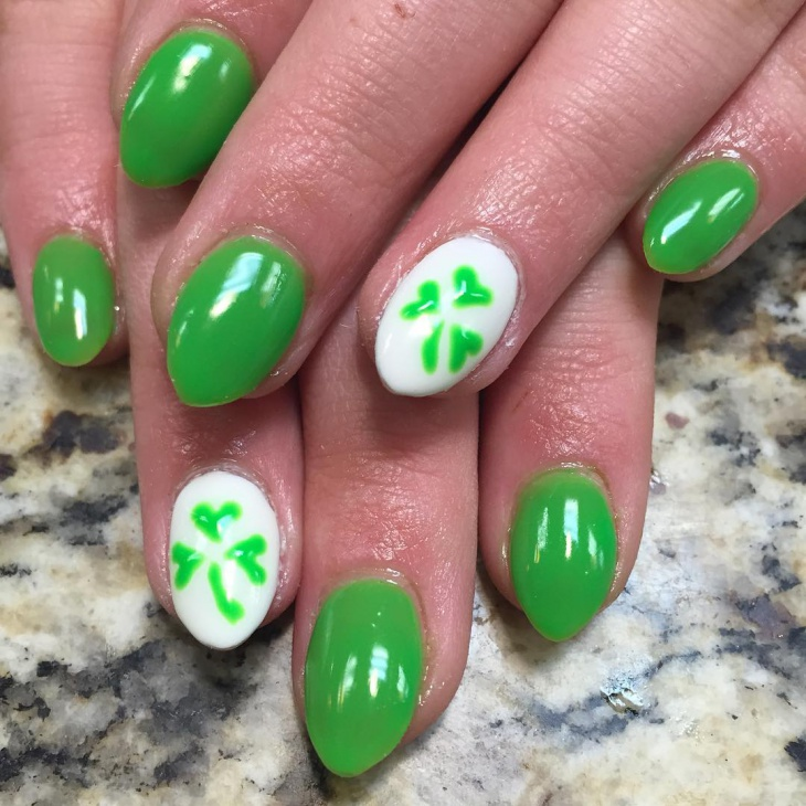 shamrock gel nail design