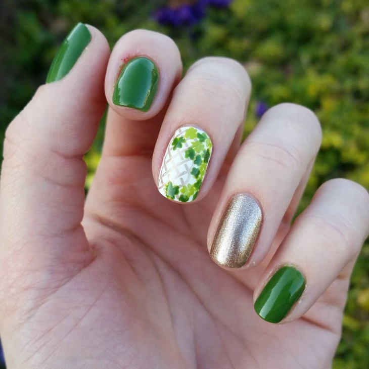 21 shamrock nail art designs ideas design trends premium psd shamrock green checkered nail art prinsesfo Gallery