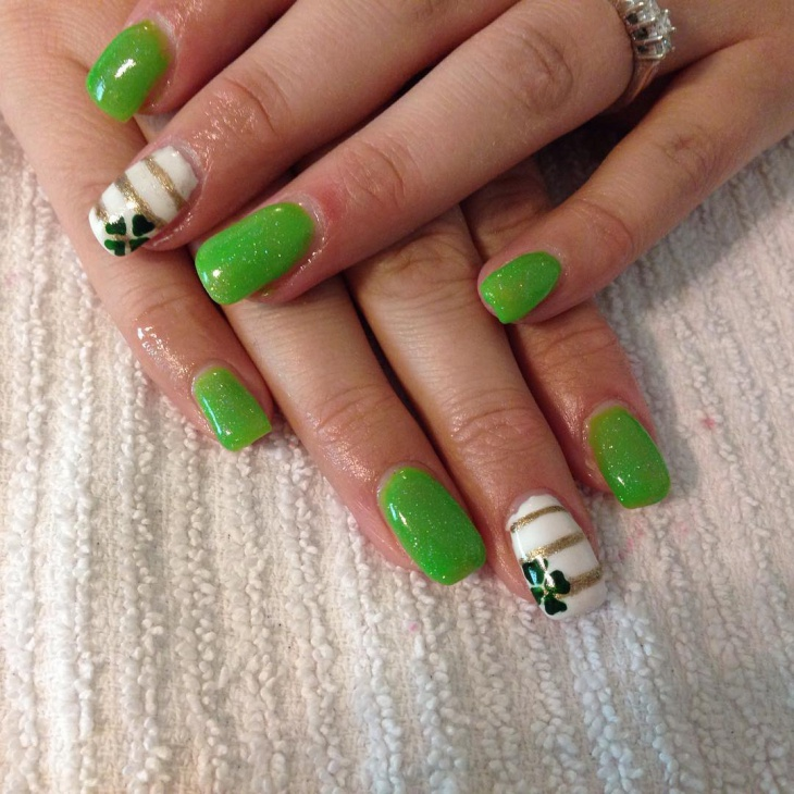 shamrock striped nail art