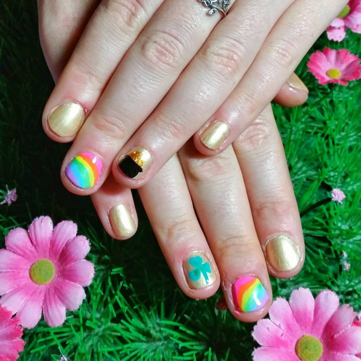 shamrock rainbow nail design