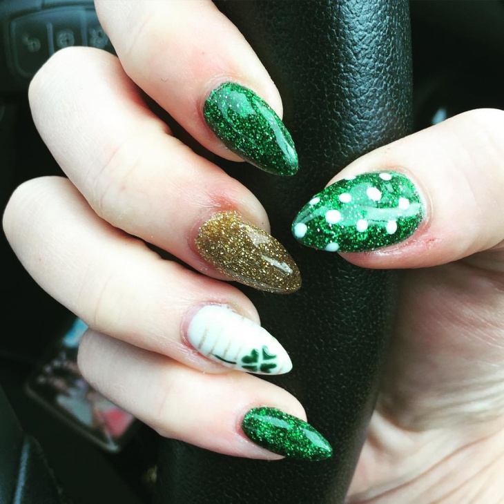 shamrock nail design on acrylic nails