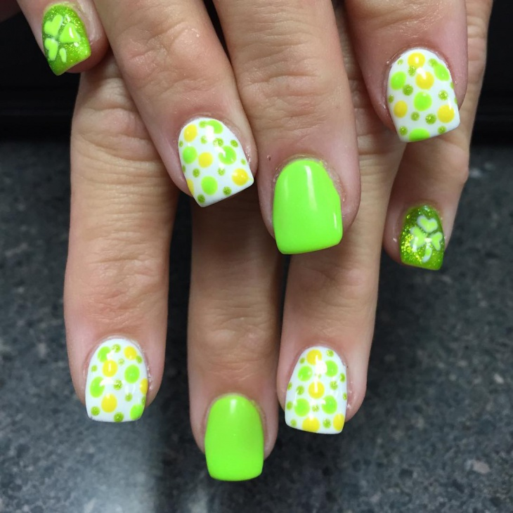 lovely green and white nail design