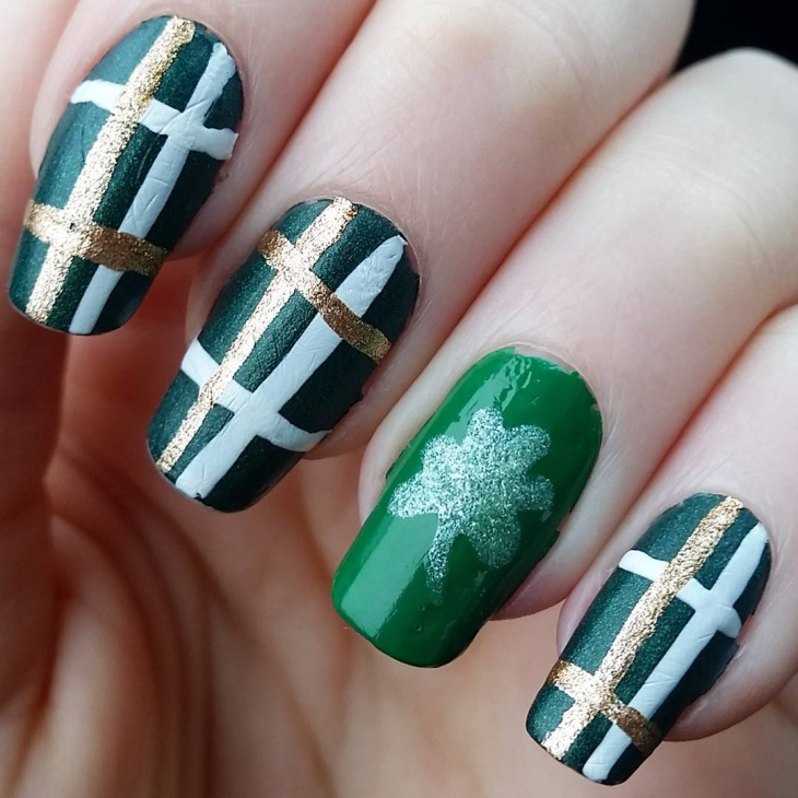 black and green nail art