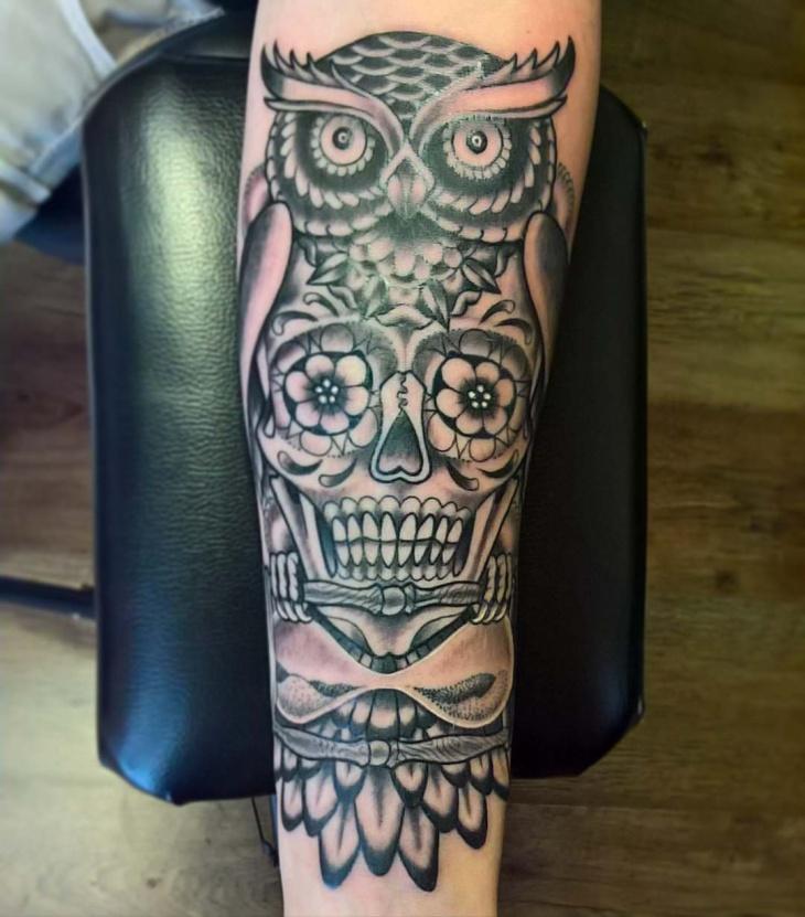 hourglass owl tattoo