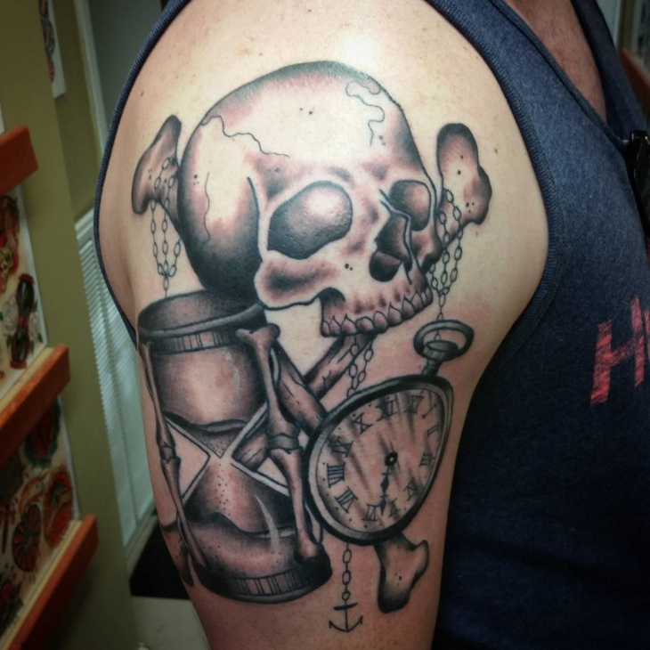 hourglass sleeve tattoo