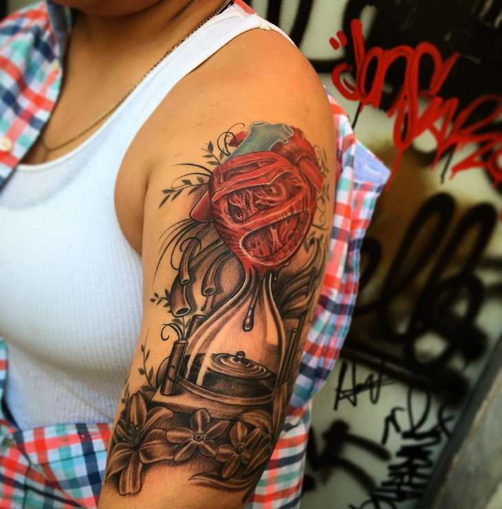 hourglass arm tattoo design