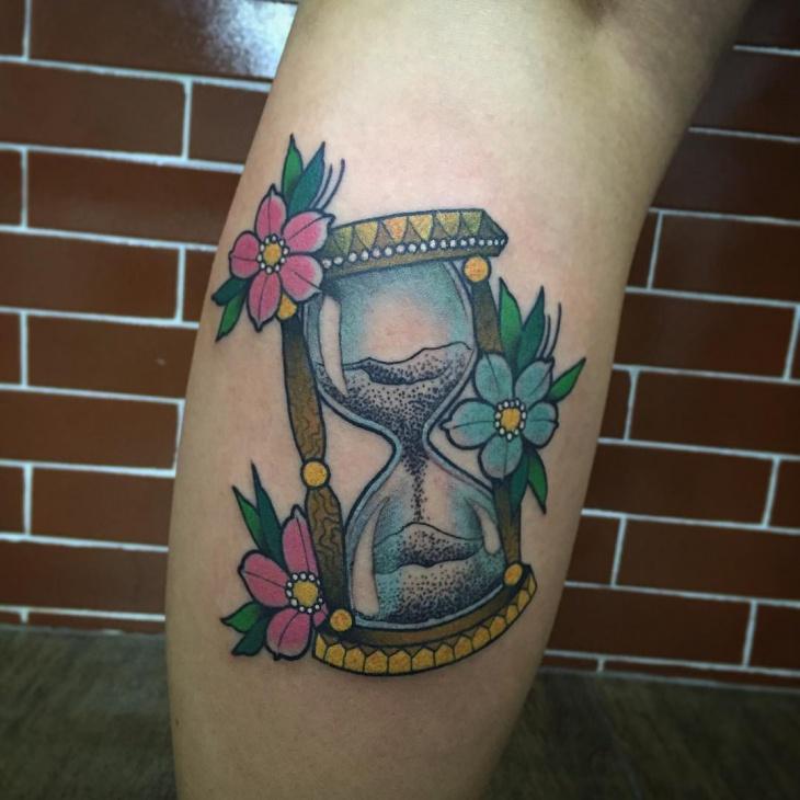 hourglass flower tattoo