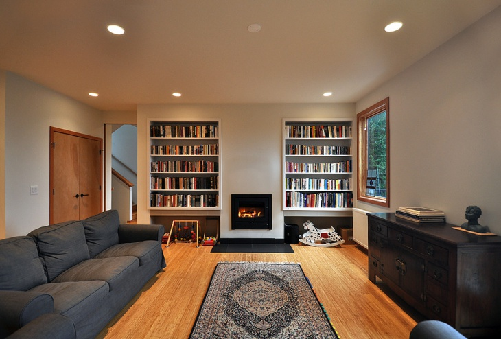 Contemporary Family Room with Book Shelves