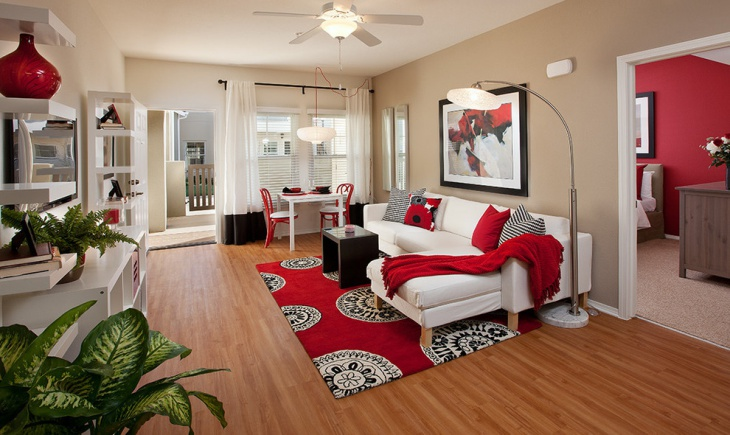 Red and White Bamboo Living Room