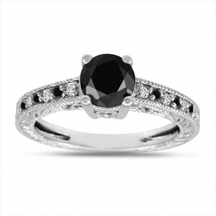 platinum black and white diamond ring