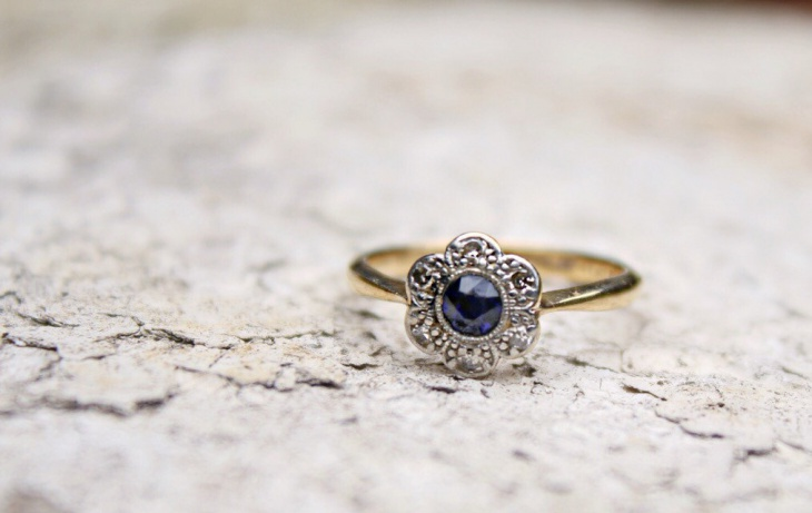 antique platinum flower engagement ring