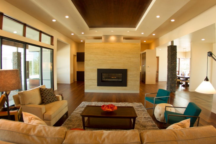 Comfortable Family Room with Floating Roof