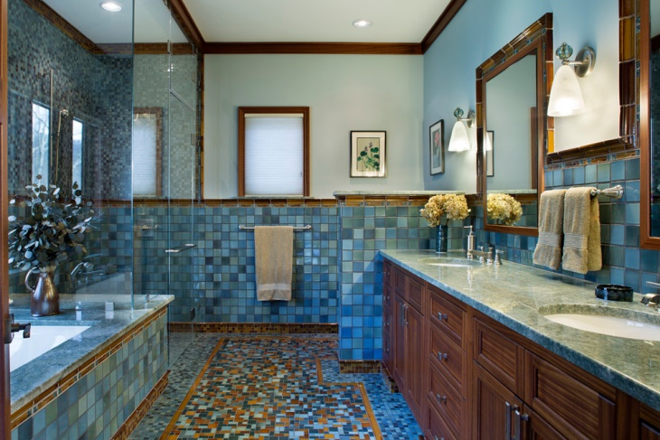 amazing bathroom with chequered tiles