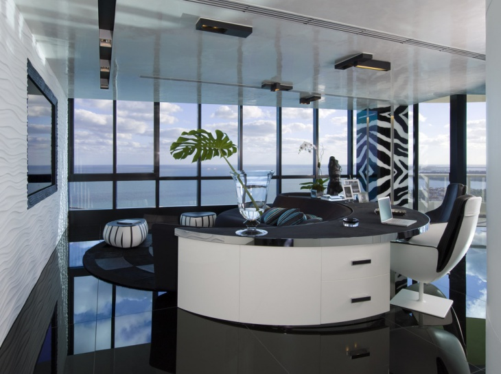 black and white office room idea