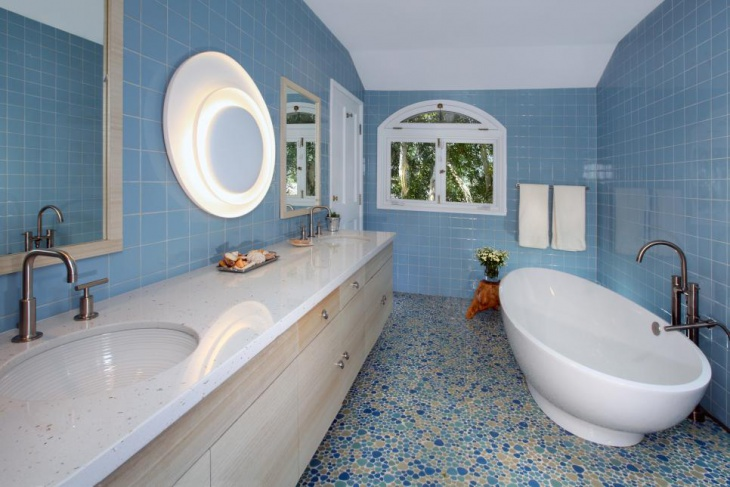 stunning blue tiled bathroom