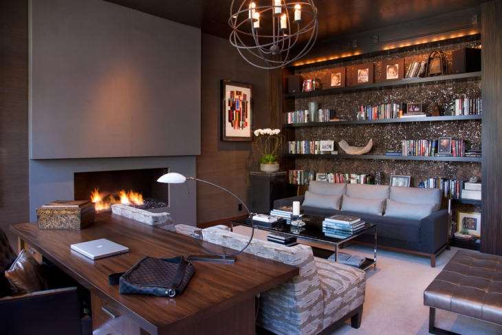 contemporary office with book shelves