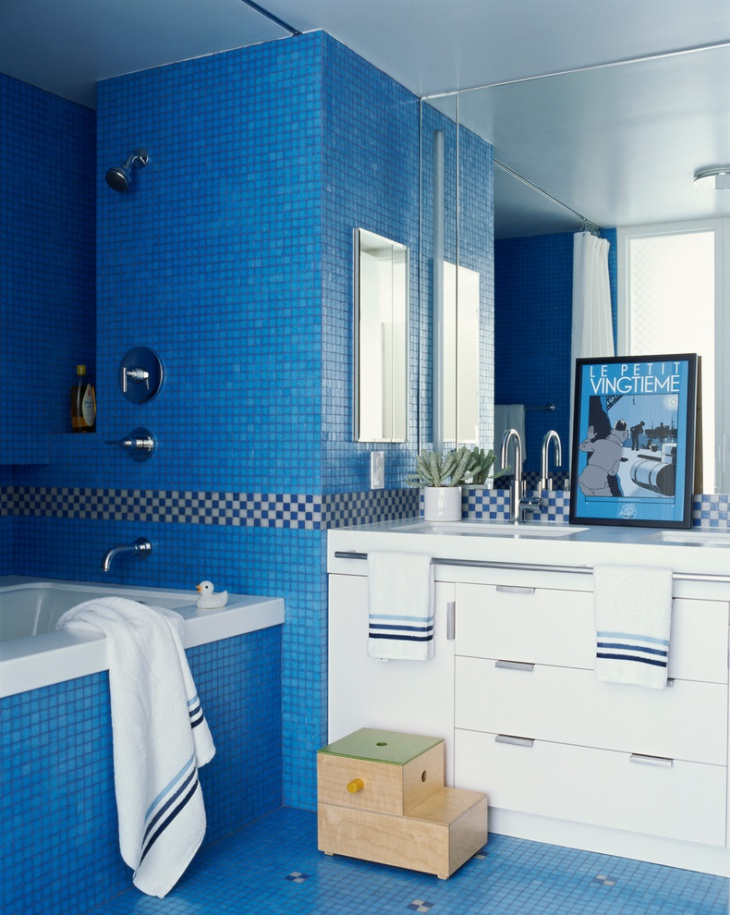 21 blue tile bathroom designs decorating ideas design for Tiles for kids bathroom