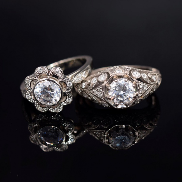 antique platinum couple ring