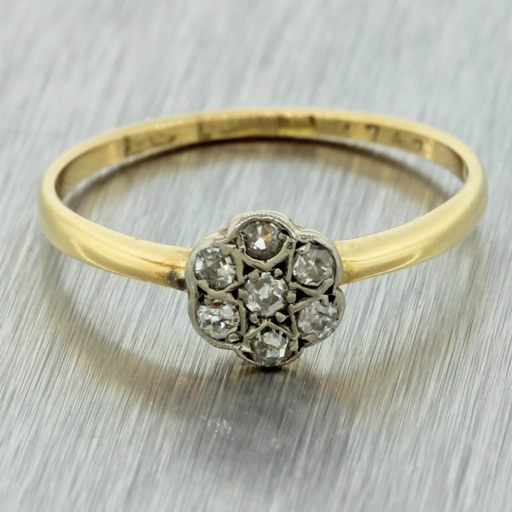 yellow gold platinum diamond ring